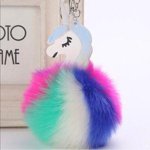 Accessories - Iridescent Unicorn Pom Pom Key Chain